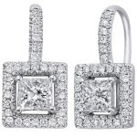 PRINCESS SHAPED DIAMOND IN PAVE OUTLINED HOOK EARRINGS