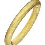 YELLOW GOLD PLATED MESH TEXTURED BANGLE
