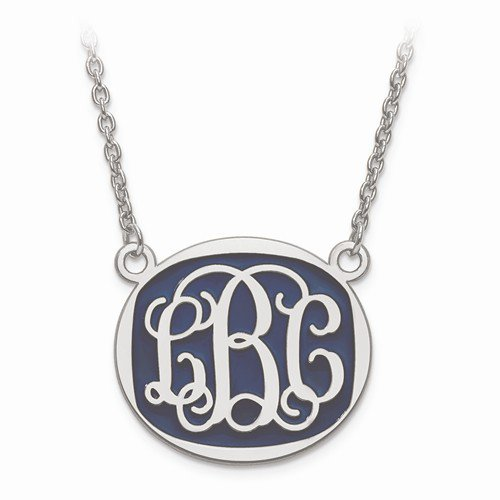 large polished enameled monogram pendant herteen and