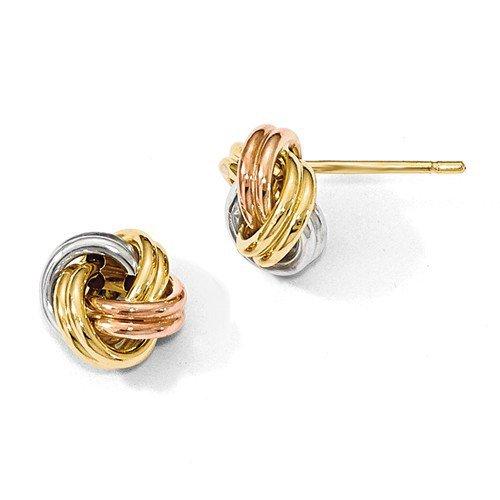 Tri Color Love Knot Stud Earrings