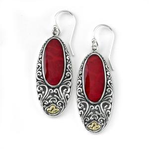 C Oval Earrings With Balinese Swirl Design